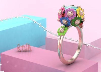Anelo con fiori smaltati. / Flower ring.