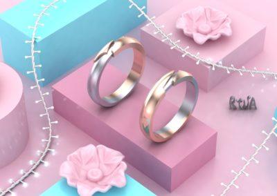 Fedi in oro bianco e oro rosa. / Wedding rings in rose and white gold.