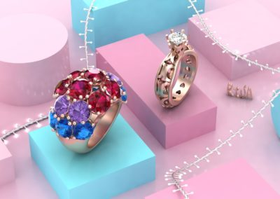 Anelli misti con gemme colorate e traforo. / Mixed ring with colored gems ad open work.