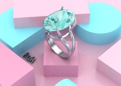 Grosso anello solitario con acquamarina ovale. / Ring with large oval aquamarine.