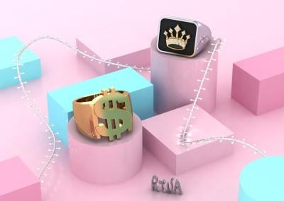 Anello a sigillo con corona e simbolo del dollaro. / Signet rings with crown and dollar symbols.