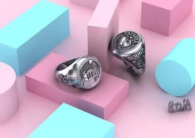 Anelli a sigillo simbolici personalizzati. / Symbolic signet rings.
