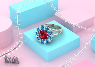 Anello fiore con gemme colorate. / Flower ring.