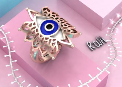 Anello con occhio al centro. /Ring with eye in the middle.