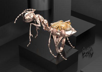 Anello formica con quarzo rutilato. / Ant ring with rutilated quartz.