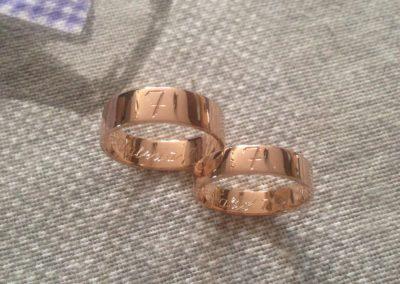 Valeria & Fabio, oro rosso 5N / Valeria & Fabio, red gold 5N.