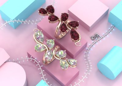 Anelli fantasia con gemme colorate. / Fantasy rings with colored gems.