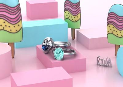 Anelli di fidanzamento con zaffiro blu e acquamarina. / Sapphire and aquamarine engagement rings.