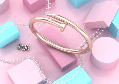 Bracciale chiodo in oro rosa. / Nail bangle in rose gold.