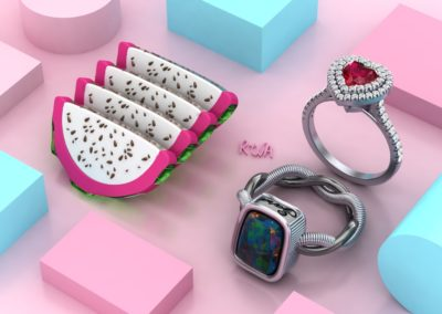 Anelli di fidanzamento con rubino ed opale. / Ruby and opal engagement rings.