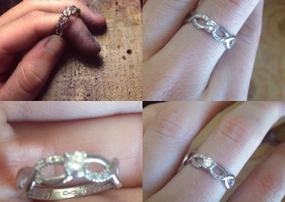 Anello onde solitario con incisioni interne./ Lonesome waves ring with internal engraving.